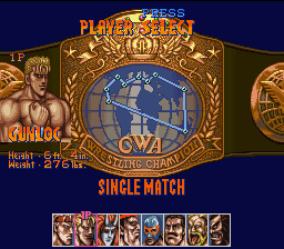 Saturday Night Slam Masters SNES Character select screen