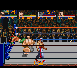 Saturday Night Slam Masters SNES Once your team mate is knocked out, you have to go against two enemies