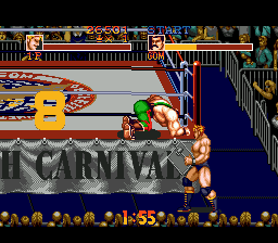 Saturday Night Slam Masters Genesis Outside the ring you can fight with weapons