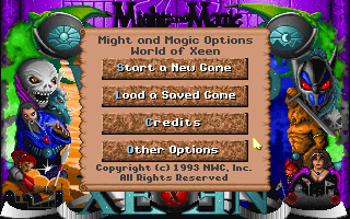 Might and Magic: World of Xeen DOS Main Menu