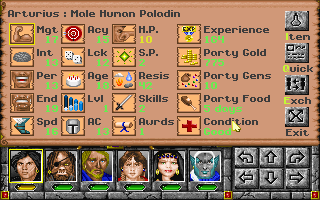 Might and Magic: World of Xeen DOS Character screen
