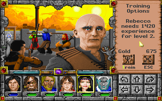 Might and Magic: World of Xeen DOS Training grounds level up your characters