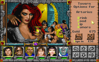 Might and Magic: World of Xeen DOS No rpg tavern is complete without a foxy redhead to greet you at the entrance