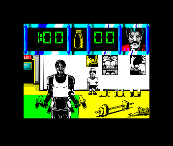 Daley Thompson's Olympic Challenge ZX Spectrum In the gym
