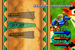 Crash Nitro Kart Game Boy Advance Each team has three different pilots, all with proper characteristics.