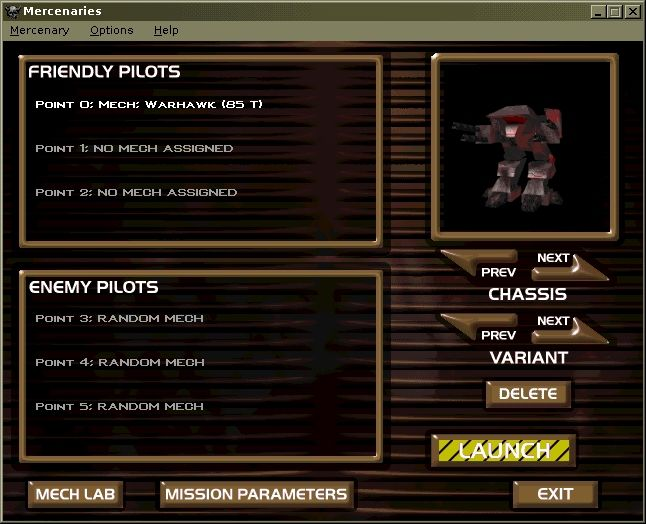 MechWarrior 2: Mercenaries Windows The instant action menu, where you choose your own, your allies and your enemies mech's