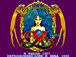 Ys: The Vanished Omens SEGA Master System Title screen