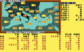 Annals of Rome Commodore 64 Starting screen / set up game