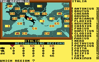Annals of Rome Commodore 64 The gameplay screen