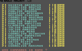 Annals of Rome Commodore 64 Who would you like to put in command of Rome?
