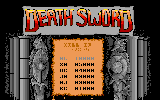 Death Sword Amiga Title and high scores (US release)