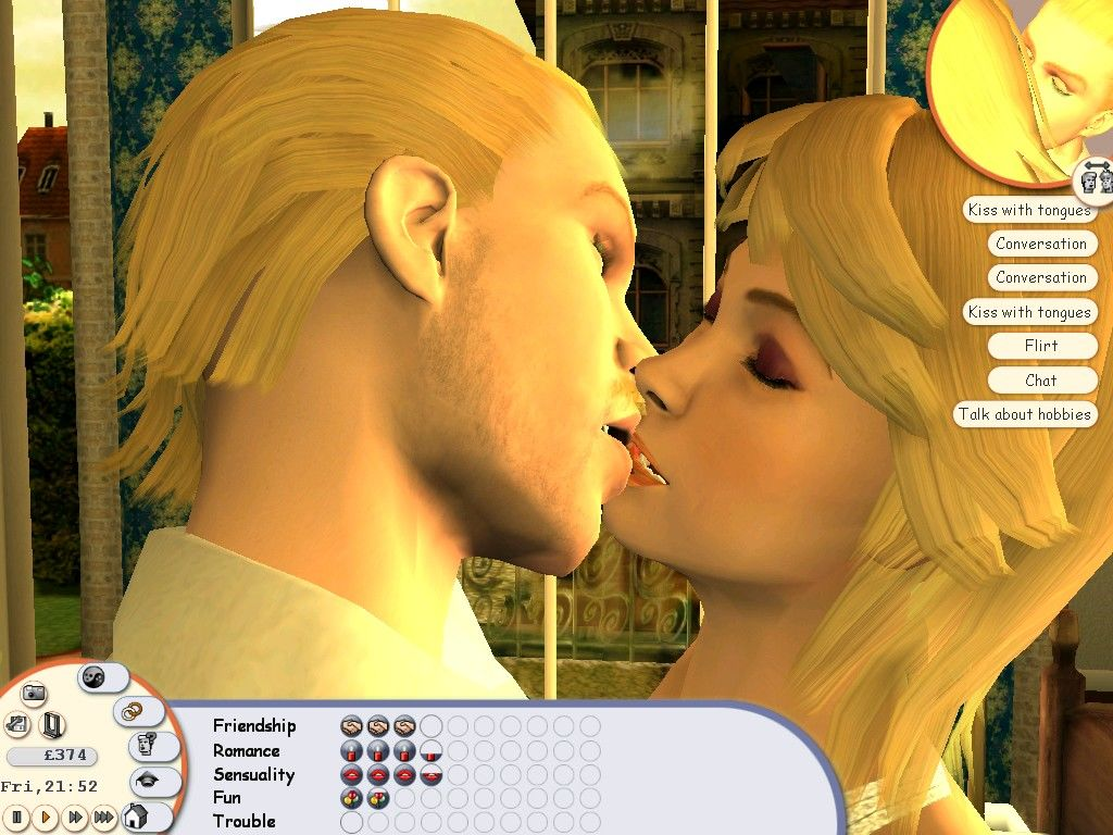 Singles: Flirt Up Your Life! Windows Flirting can eventually end up with some kissing (zoomed enough you can actually see their tongues)