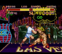 Super Street Fighter II SNES Demonstration mode: can Balrog's Dashing Uppercut be intercepted by Zangief's sweep? :^)