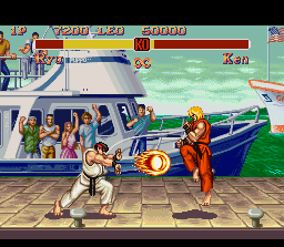 Super Street Fighter II SNES Ryu uses his new flaming Hadouken against Ken, that quickly makes an evading jump.