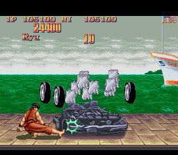Super Street Fighter II SNES Bonus Stage 1: be strategic in the moves and break the car!