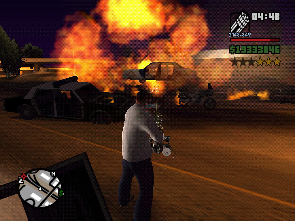 Grand Theft Auto: San Andreas Windows Massacre on the freeway.