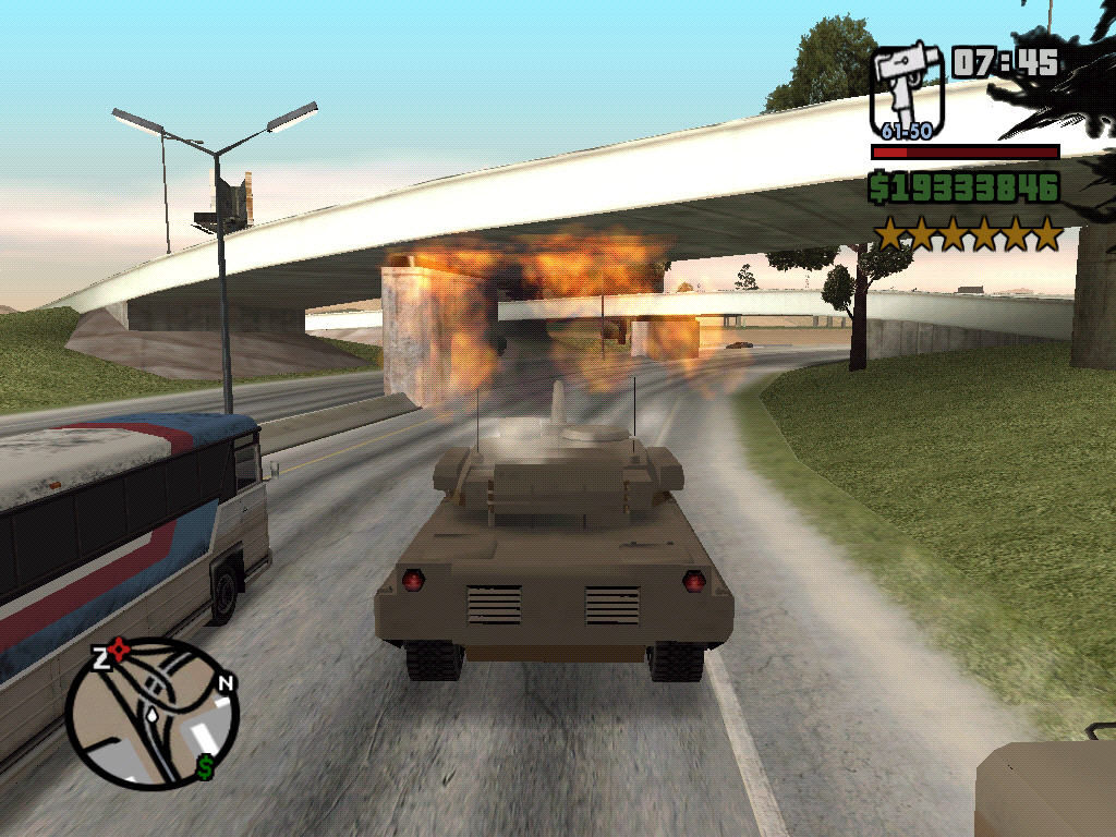 Grand Theft Auto: San Andreas Windows In a tank.