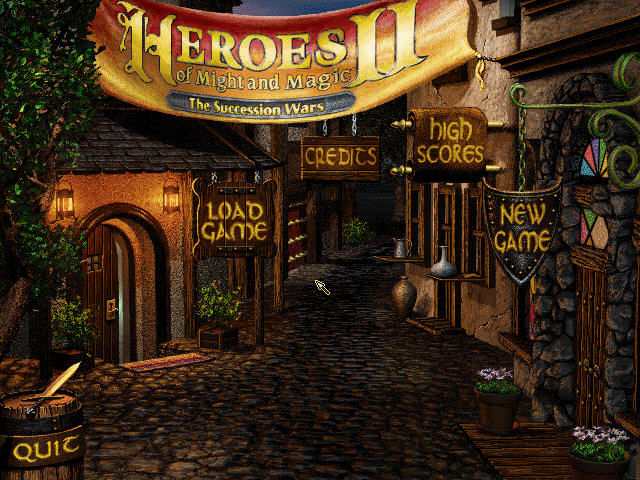 Heroes of Might and Magic II: The Succession Wars Windows Main menu.
