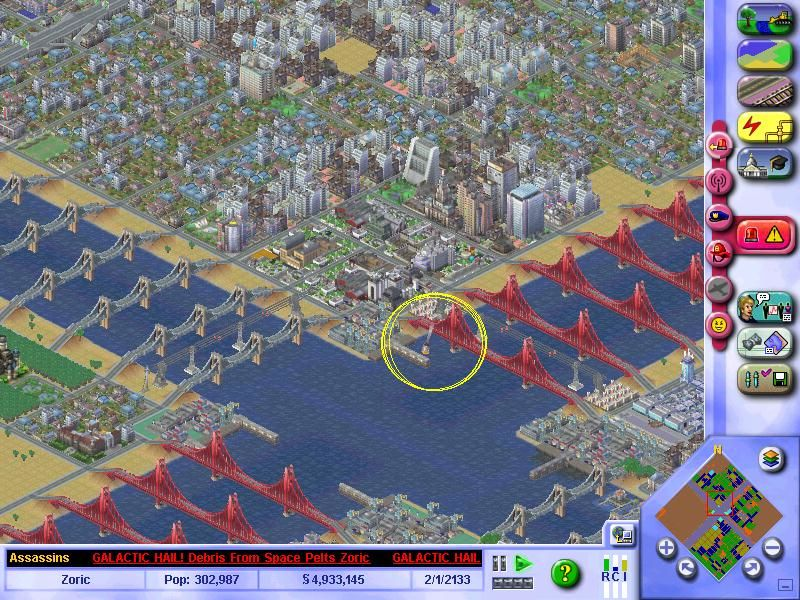 SimCity 3000 Unlimited Windows Asteroid (Circled)