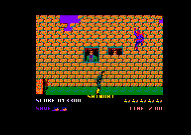 Shinobi Amstrad CPC A ninja clings to the wall