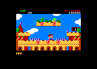 Rainbow Islands Amstrad CPC One of the levels in Insect Island