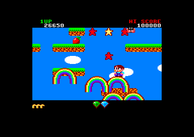 Rainbow Islands Amstrad CPC With more points earned, you can shoot more than one rainbow