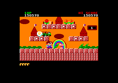 Rainbow Islands Amstrad CPC One of the levels in Combat Island