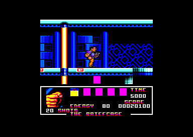 Total Recall Amstrad CPC See those little red bricks on the floor? Step on them to activate the barrier