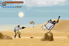 Star Wars Trilogy: Apprentice of the Force Game Boy Advance Test your blaster accuracy shooting some enemies, like this unprotected Tusken Raider.