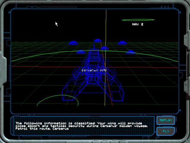 Wing Commander: Secret Ops Windows The 3D wireframe mission briefing screen.