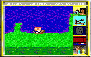 King's Bounty DOS Boat means everything in this game, without hiring one you won't be nearly as agile