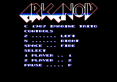 Arkanoid Amstrad CPC Title screen / main menu