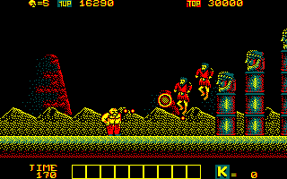 Karnov Amstrad CPC Firing at enemies