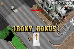 Payback Game Boy Advance You get the 'Irony Bonus' when you run over people with their own vehicle.
