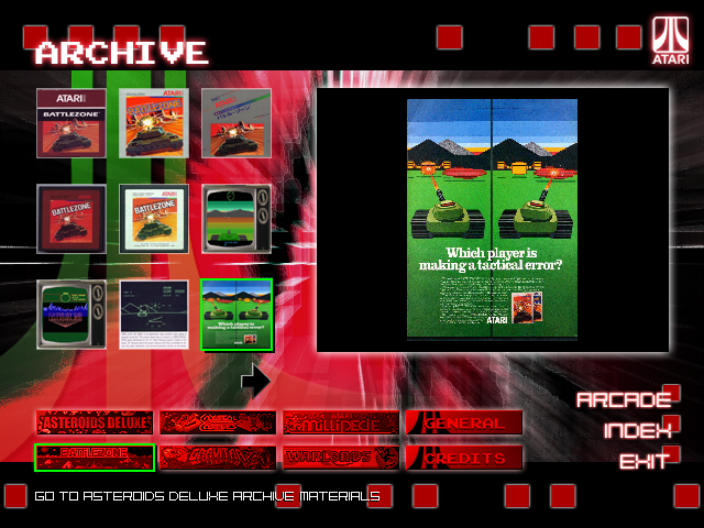 Atari: Anniversary Edition Windows Volume 2 archives, viewing a thumbnail of an advertisment for Battlezone.