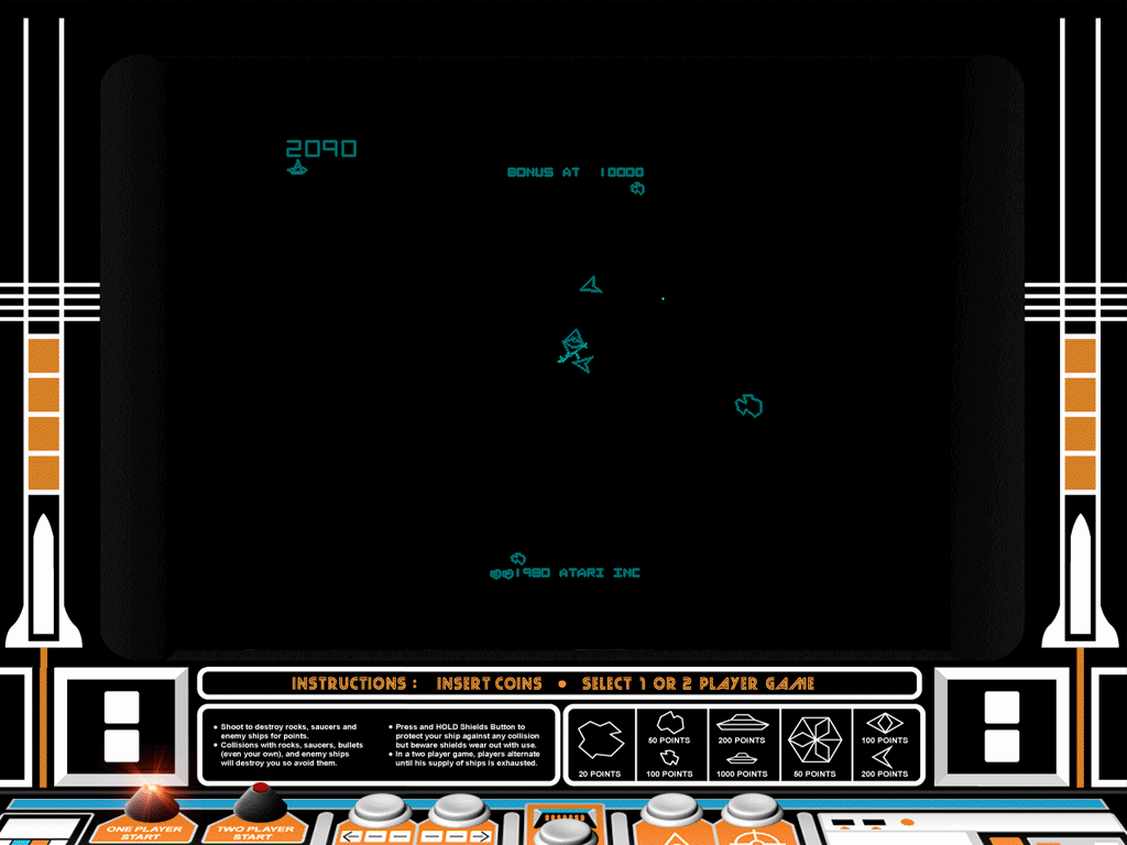 "Atari Anniversary Edition Windows Asteroids Deluxe in ""classic"" mode with cabinet art."