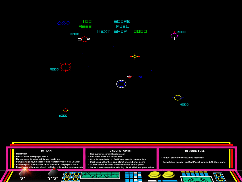 "Atari: Anniversary Edition Windows Gravitar in ""classic"" mode with cabinet art."