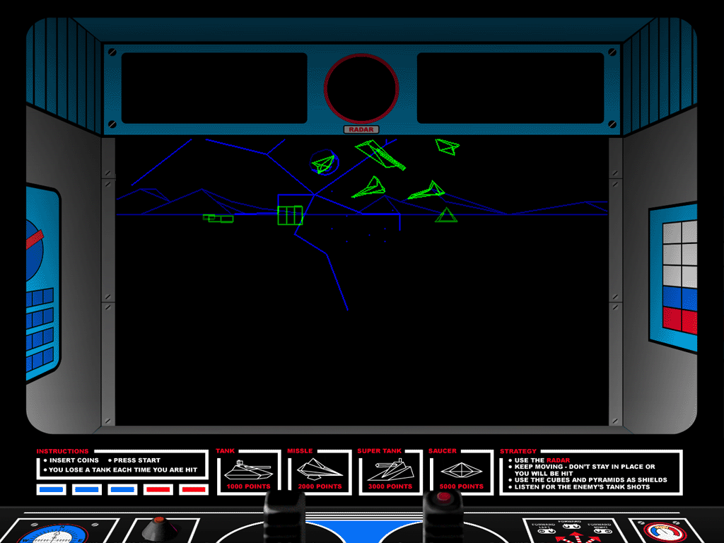 "Atari Anniversary Edition Windows Battlezone in ""enhanced"" mode with cabinet art."