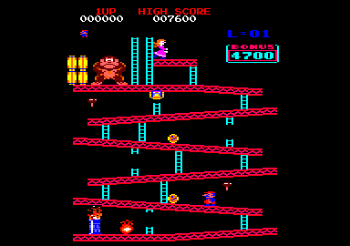 Donkey Kong Amstrad CPC Running up the first level platforms...