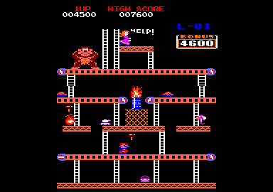 Donkey Kong Amstrad CPC Some conveyer belt contraptions to get past here...