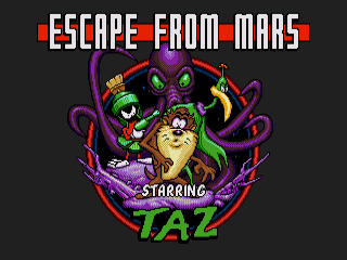 Taz in Escape from Mars Genesis Title Screen