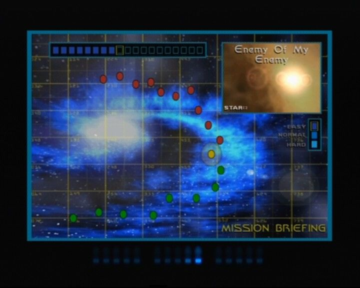Star Trek: Shattered Universe PlayStation 2 Mission briefing (yellow mark is your current mission, red are those that await ahead)