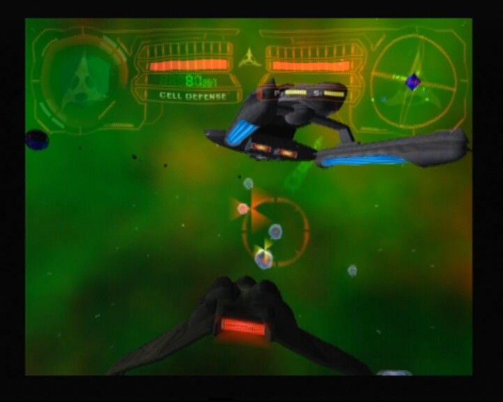 "Star Trek: Shattered Universe PlayStation 2 Flying Klingon ""Bird of Prey"" while protecting your ship from cell defenses"