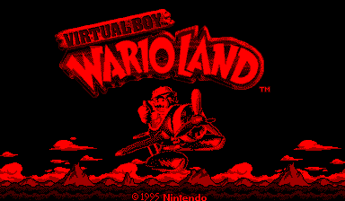 Virtual Boy Wario Land Virtual Boy Title screen.