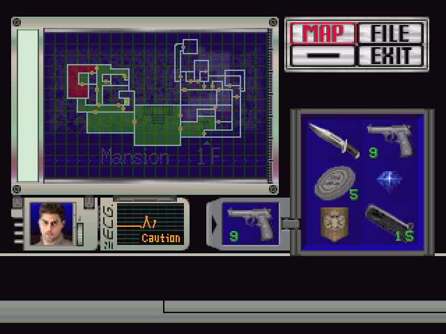 Resident Evil Windows Complete map of the 1st floor