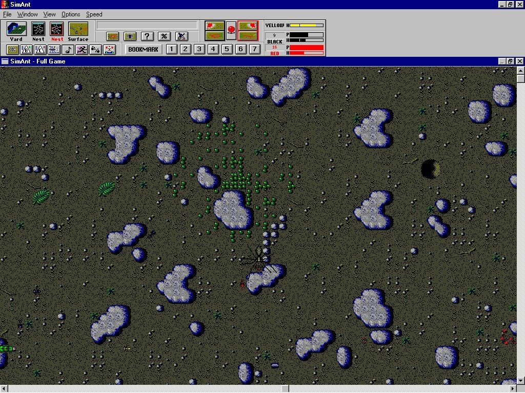SimAnt: The Electronic Ant Colony Windows 3.x The spider eats a red ant