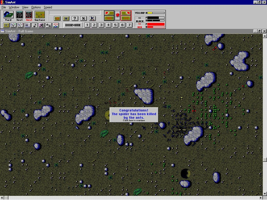 SimAnt: The Electronic Ant Colony Windows 3.x Get rid of the spider!