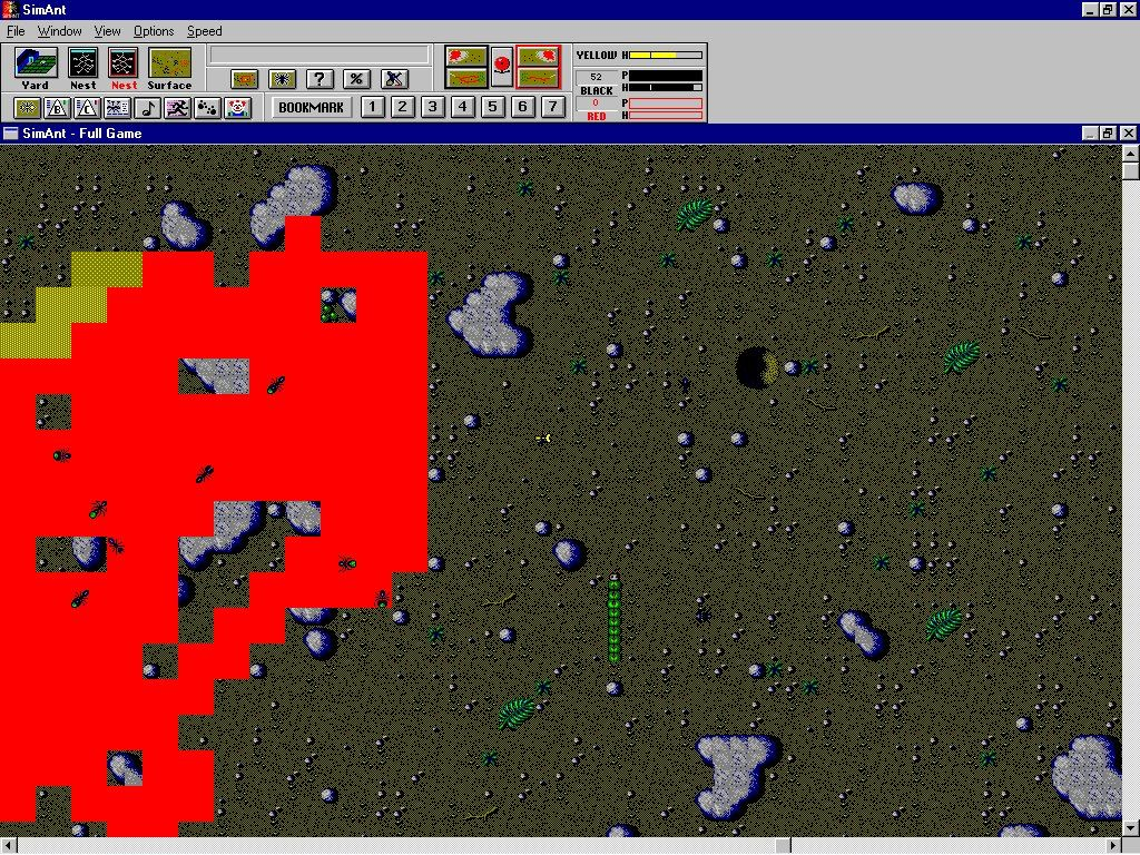 SimAnt: The Electronic Ant Colony Windows 3.x Your ants will leave trails if they find food...