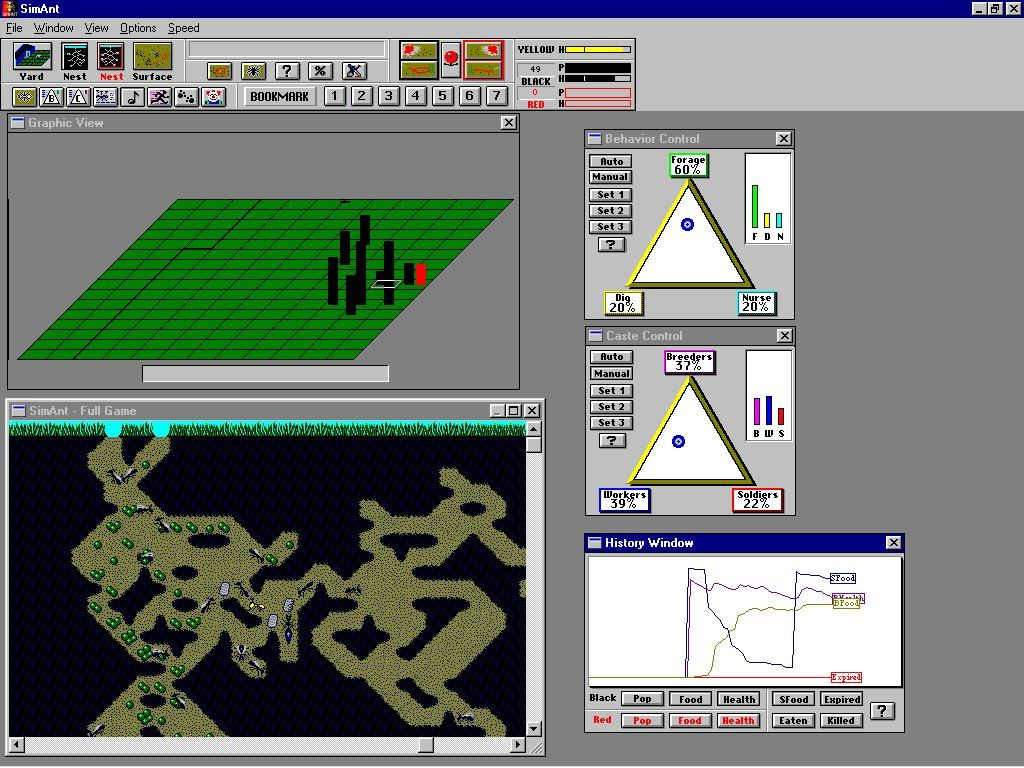 SimAnt: The Electronic Ant Colony Windows 3.x View several important windows simultaneously
