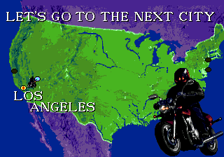 "Side Pocket Genesis Map screen: riding a motorcycle, the player makes a ""long"" travel to the next challenge... :-D"